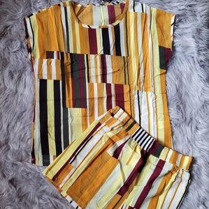Multicolored striped 2 piece set